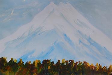 写真2 支援学校でいつも駐車する場所で見かける富士山を描いた作品