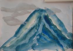 写真5 新聞社の取材中に15分で仕上がった富士山