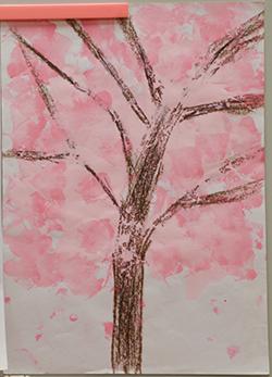写真1 浩太朗さんが初めて描いた桜の木